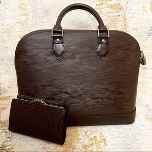 Louis Vuitton Brown Epi Leather Alma w Wallet Set